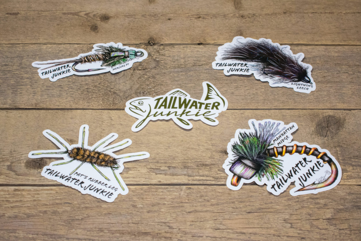 "Our custom stickers are full color, die-cut vinyl with a UV laminate.  All of our custom stickers are waterproof, durable and long lasting.  Put them on your fly boxes, water bottles and or cars!  Great for indoor or outdoor use.  The length of the sticker is 5""."